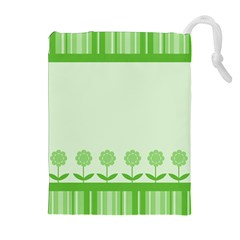 Floral Stripes Card In Green Drawstring Pouches (extra Large)