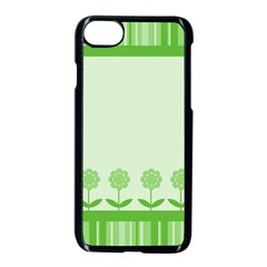 Floral Stripes Card In Green Apple iPhone 7 Seamless Case (Black)