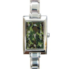 Military Camouflage Pattern Rectangle Italian Charm Watch