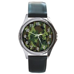 Military Camouflage Pattern Round Metal Watch