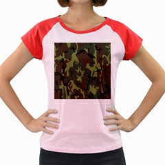 Military Camouflage Pattern Women s Cap Sleeve T Shirt