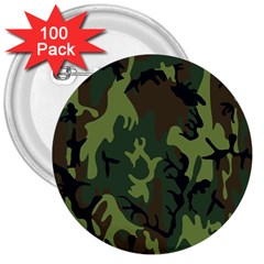 Military Camouflage Pattern 3  Buttons (100 pack)