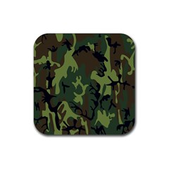 Military Camouflage Pattern Rubber Square Coaster (4 pack)