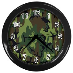 Military Camouflage Pattern Wall Clocks (Black)