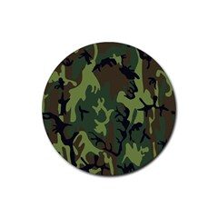 Military Camouflage Pattern Rubber Round Coaster (4 Pack)