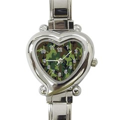 Military Camouflage Pattern Heart Italian Charm Watch
