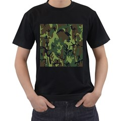 Military Camouflage Pattern Men s T Shirt (black) (two Sided)