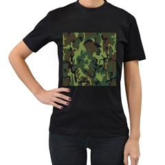 Military Camouflage Pattern Women s T Shirt (black) (two Sided)