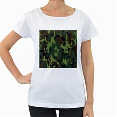 Military Camouflage Pattern Women s Loose-Fit T-Shirt (White)