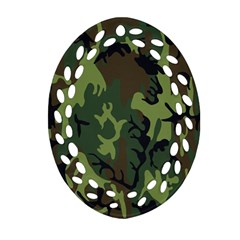 Military Camouflage Pattern Oval Filigree Ornament (Two Sides)