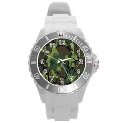 Military Camouflage Pattern Round Plastic Sport Watch (L)