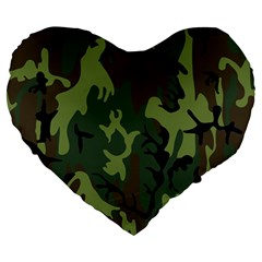 Military Camouflage Pattern Large 19  Premium Heart Shape Cushions