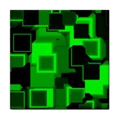 Green Cyber Glow Pattern Tile Coasters