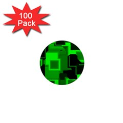 Green Cyber Glow Pattern 1  Mini Magnets (100 Pack)
