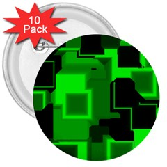 Green Cyber Glow Pattern 3  Buttons (10 Pack)