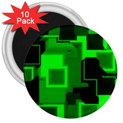 Green Cyber Glow Pattern 3  Magnets (10 Pack)