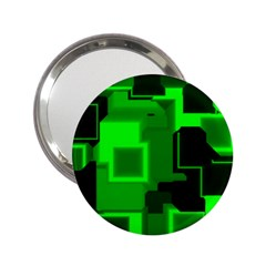Green Cyber Glow Pattern 2 25  Handbag Mirrors