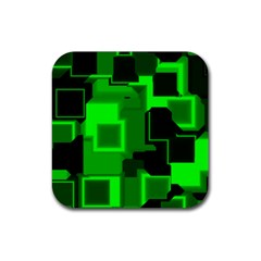 Green Cyber Glow Pattern Rubber Square Coaster (4 Pack)