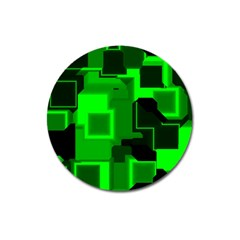 Green Cyber Glow Pattern Magnet 3  (round)