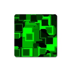 Green Cyber Glow Pattern Square Magnet