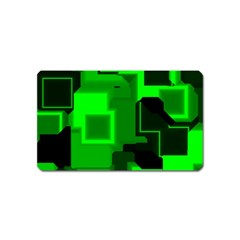 Green Cyber Glow Pattern Magnet (Name Card)