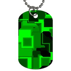 Green Cyber Glow Pattern Dog Tag (Two Sides)