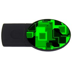 Green Cyber Glow Pattern USB Flash Drive Oval (2 GB)