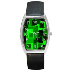 Green Cyber Glow Pattern Barrel Style Metal Watch