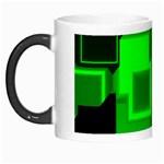 Green Cyber Glow Pattern Morph Mugs Left