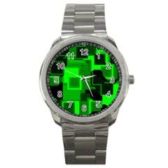 Green Cyber Glow Pattern Sport Metal Watch