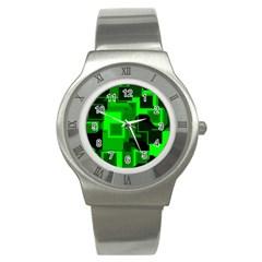 Green Cyber Glow Pattern Stainless Steel Watch