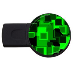 Green Cyber Glow Pattern USB Flash Drive Round (4 GB)