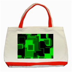 Green Cyber Glow Pattern Classic Tote Bag (red)
