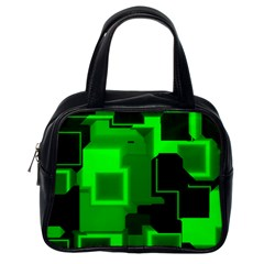 Green Cyber Glow Pattern Classic Handbags (One Side)