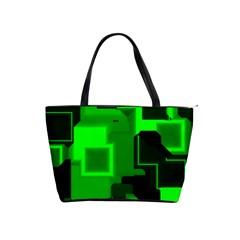 Green Cyber Glow Pattern Shoulder Handbags