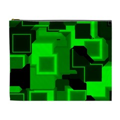 Green Cyber Glow Pattern Cosmetic Bag (XL)