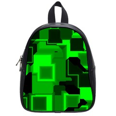 Green Cyber Glow Pattern School Bags (small)