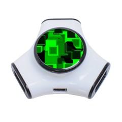 Green Cyber Glow Pattern 3 Port Usb Hub
