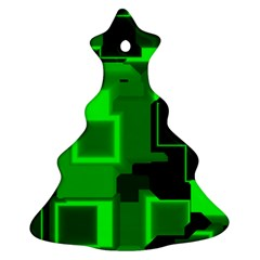 Green Cyber Glow Pattern Christmas Tree Ornament (two Sides)