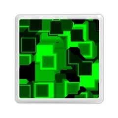 Green Cyber Glow Pattern Memory Card Reader (square)