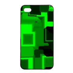 Green Cyber Glow Pattern Apple iPhone 4/4s Seamless Case (Black)