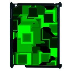 Green Cyber Glow Pattern Apple iPad 2 Case (Black)