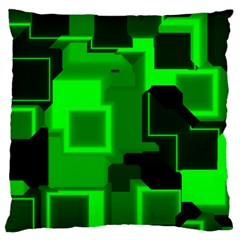 Green Cyber Glow Pattern Large Cushion Case (two Sides)