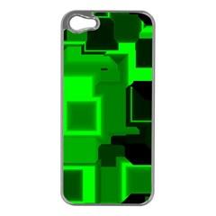 Green Cyber Glow Pattern Apple iPhone 5 Case (Silver)
