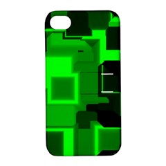 Green Cyber Glow Pattern Apple iPhone 4/4S Hardshell Case with Stand
