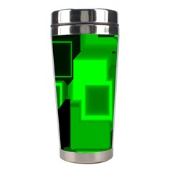 Green Cyber Glow Pattern Stainless Steel Travel Tumblers