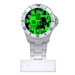 Green Cyber Glow Pattern Plastic Nurses Watch