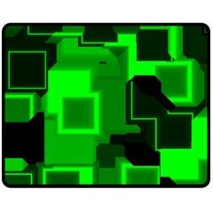 Green Cyber Glow Pattern Double Sided Fleece Blanket (Medium)