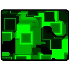 Green Cyber Glow Pattern Double Sided Fleece Blanket (Large)