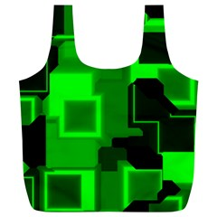 Green Cyber Glow Pattern Full Print Recycle Bags (L)